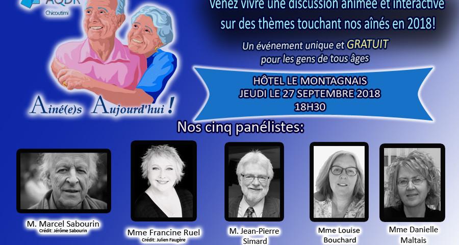 Événement Ainés Aujourd'hui-AQDR Chicoutimi- Sept. 2018